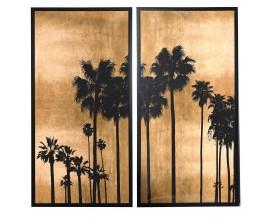 Štýlový závesný set dvoch veľkých obrazov Palms hnedej a čiernej-zlatom prevedení