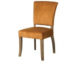 Dizajnová zámocká jedálenská stolička Ravenna v zlatej farbe so zamatovým čalúnením a drevenými nohami