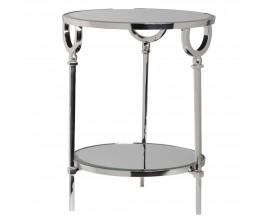 Okrúhly príručný stolík v Art-deco štýle z chrómu a zrkadiel