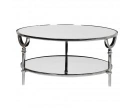 Art-deco okrúhly konferenčný stolík z chrómu a zrkadiel 91 cm