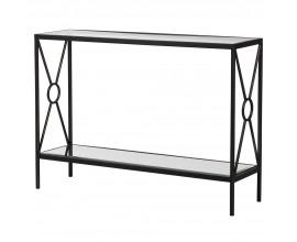 Dizajnový obdĺžnikový konzolový stolík so zrkadlovými sklenenými doskami a konštrukciou v tmavohnedej farbe 112 cm