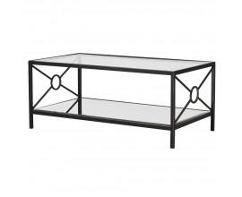 Art-deco konferenčný stolík Izana zo skla s tmavohnedou kovovou konštrukciou 108cm