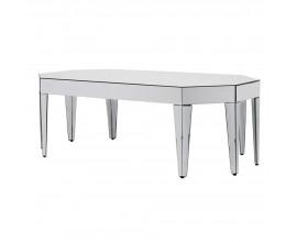 Štýlový zrkadlový konferenčný stolík v tvare osemuholníka 140 cm
