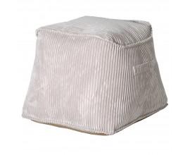 Retro mäkká štvorcová taburetka Greyance v svetlosivej farbe 55cm