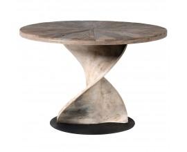 Okrúhly štýlový jedálenský stôl so skrútenou drevenou podnožou 118 cm