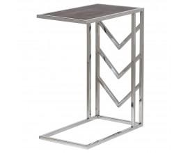 Dizajnový chrómový odkladací stolík Oracle s kovovou konštrukciou a tmavohnedou povrchovou doskou
