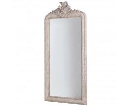 Vintage biele šatníkové zrkadlo z masívu s barokovou vyrezávanou výzdobou na vrchu 190 cm