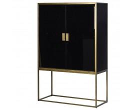 Art-deco zrkadlová vysoká skrinka Erin v čiernej farbe so zlatou kovovou konštrukciou 178cm