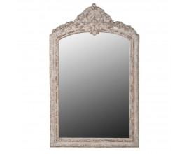 Vintage nástenné zrkadlo z masívu s florálnou vyrezávanou výzdobou na vrchu 145 cm