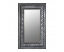 Rustikálne obdĺžnikové nástenné zrkadlo v tmavosivej farbe s výrazným rámom z masívu 165 cm
