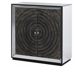 Zrkadlová čierna skrinka Espejo Nera so zrkadlovou konštrukciou a dvierkami s geometrickým kruhovým vzorom