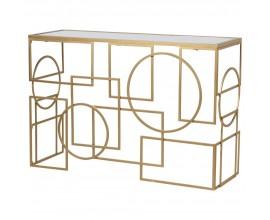 Štýlový Art-deco konzolový stolík zlatý s geometrickými tvarmi 120 cm