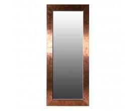 Dizajnové šatníkové zrkadlo so širokým medeným rámom 209 cm