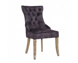 Zámocká jedálenská stolička Torino s masívnymi nohami  so zamatovým chesterfield poťahom a strieborným klopadlom sivá 96cm