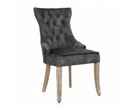 Baroková jedálenská stolička Torino sivozelenej farby zo zamatu s masívnymi nohami a strieborným klopadlom 96cm