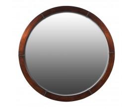 Koloniálne okrúhle nástenné zrkadlo s medeným rámom s ozdobným nitovaním 91 cm
