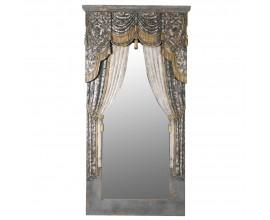 Vintage nástenné zrkadlo s ozdobným rámom v tvare barokového závesu 201 cm