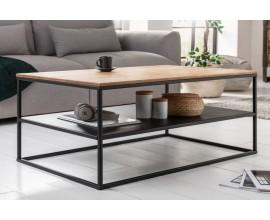 Industriálny konferenčný stolík Westford z masívneho dreva hnedej farby a čiernou kovovou konštrukciou 95cm