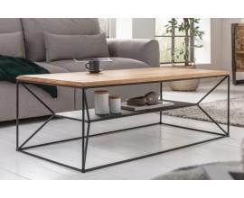Industriálny konferenčný stolík Westford z dubového masívu hnedej farby s čiernou kovovou podstavou 110cm