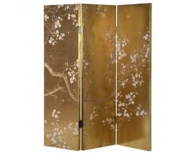 Dizajnový paraván v zlatej farbe s florálnym motívom japonských kvetín Sakura 198 cm