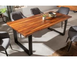 Industriálny jedálenský stôl Steele Craft z masívneho dreva hnedej farby a kovovými nohami 180cm