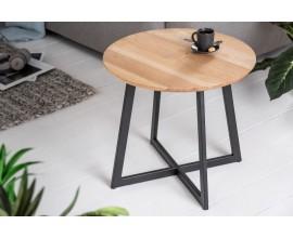 Industriálny príručný okrúhly stolík z masívu a čiernou kovovou podstavou Modul 50cm