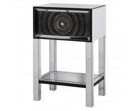 Zrkadlový dizajnový nočný stolík Espejo Nera so zásuvkou čiernej farby 77cm