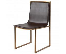 Industriálna kožená stolička Luxuria tmavohnedej farby so zlatým kovovým rámom 89cm