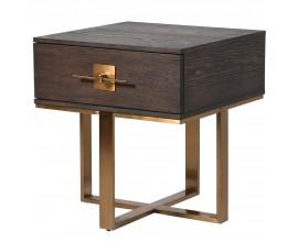 Art-deco nočný stolík Luxuria z dreva so zlatou kovovou konštrukciou a zásuvkou 55cm