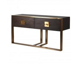 Art-deco moderná konzola Luxuria z dreva so zlatými prvkami a dvomi zásuvkami 149cm