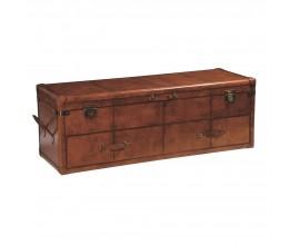 Kožená luxusná truhlica Pellia s úložným priestorom a zásuvkami hnedej farby 137cm