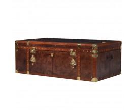 Luxusný kožený konferenčný stolík Pellia s úložným priestorom v tmavohnedej farbe so zlatými prvkami