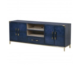 Kožený TV stolík Pellia Azul v tmavomodrej farbe so zásuvkami, dvierkami a poličkami 163cm