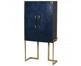 Kožená orientálna skriňa Pellia Azul v tmavomodrej farbe so zlatou kovovou konštrukciou 165cm