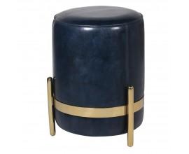 Kožená art-deco taburetka Pellia Azul v tmavomodrej farbe so zlatou konštrukciou 38cm