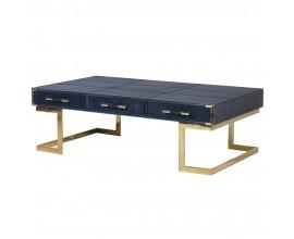 Kožený exkluzívny konferenčný stolík Pellia Azul v art-deco štýle tmavomodrej farby s tromi zásuvkami 140cm