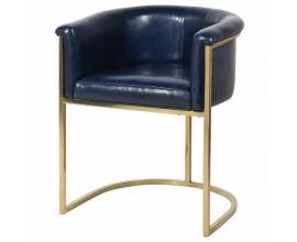 Kožené luxusné kreslo Pellia Azul v tmavomodrej farby so zlatou kovovou konštrukciou 75cm