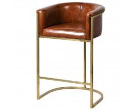 Kožená barová stolička Pellia v hnedej farbe so zlatou kovovou konštrukciou 97cm