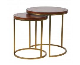 Set dvoch kruhových príručných stolíkov Pellia z pravej kože so zlatou konštrukciou