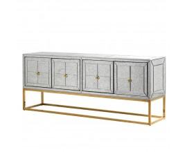 Art-deco luxusný príborník Arieda sivej farby so zlatou konštrukciou 200cm