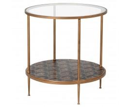 Art-deco okrúhly príručný stolík Rose so starozlatou konštrukciou a s doskou zo skla s motívom zlatých ruží na čiernej poličke 6