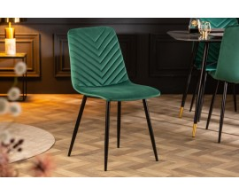 Retro dizajnová jedálenská stolička Forisma so zeleným zamatovým poťahom 87cm