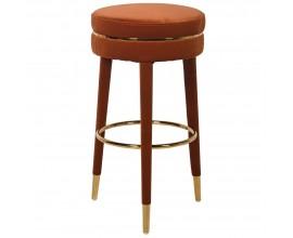 Hrdzavo oranžová barová stolička Célestine v art deco zamatovom prevedení so zlatými nožkami