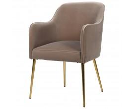 Dizajnová stolička Colmar v tmavo béžovom art-deco prevedení so zlatými nožičkami