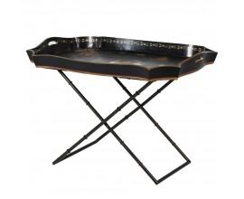 Orientálny dekoračný odkladací stolík s podnosom v čiernej farbe s čínskymi motívmi 85 cm