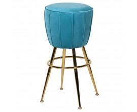 Art-deco okrúhla tyrkysová barová stolička so zamatovým poťahom a oceľovými nohami 75 cm