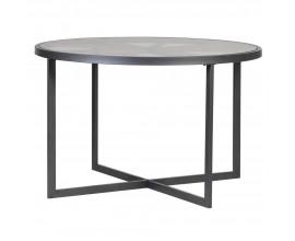 Industriálny kruhový jedálenský stôl Weela so sklenenou povrchovou doskou 120cm