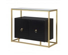 Elegantná čierna drevená skrinka Rhion s poličkami a dvierkami a so zlatou kovovou konštrukciou