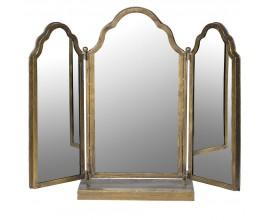 Art-deco závesné trojité zrkadlo Sheley so zlatým rámom 64cm
