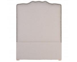Dizajnové čalúnené čelo postele Leticia béžovej farby s kovovým zdobením 130cm